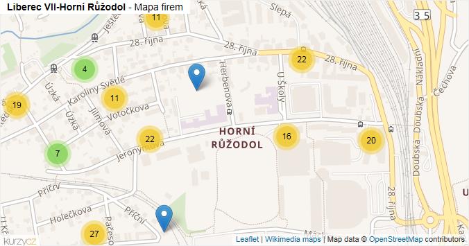 Mapa Liberec VII-Horní Růžodol - Firmy v části obce.