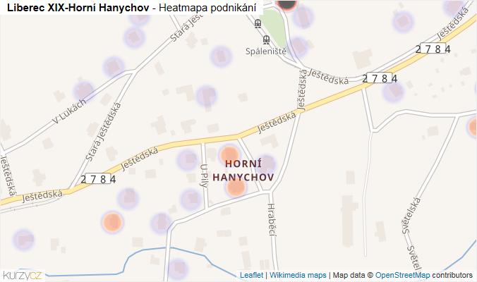 Mapa Liberec XIX-Horní Hanychov - Firmy v části obce.