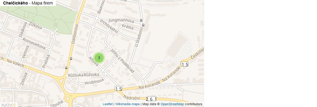 Mapa Chelčického - Firmy v ulici.