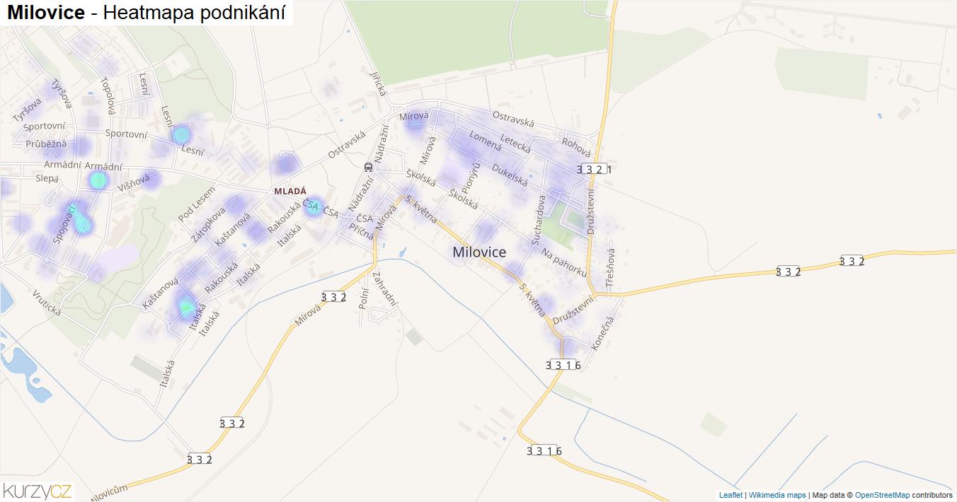 Milovice - mapa podnikání