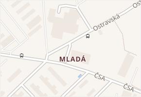 Mladá v obci Milovice - mapa části obce