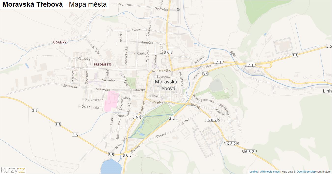 Moravská Třebová - mapa města