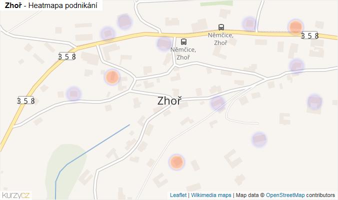 Mapa Zhoř - Firmy v části obce.