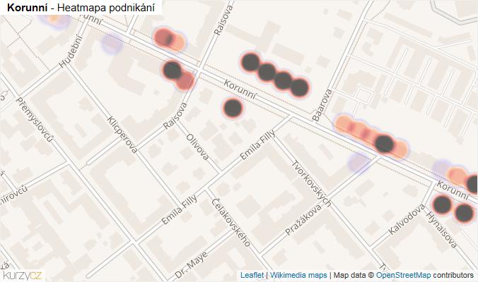 Mapa Korunní - Firmy v ulici.