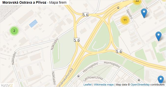 Mapa Moravská Ostrava a Přívoz - Firmy v městské části.