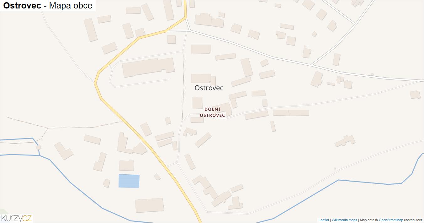 Ostrovec - mapa obce