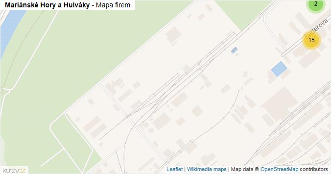 Mapa Mariánské Hory a Hulváky - Firmy v městské části.