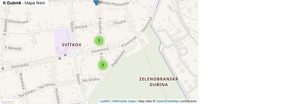 Mapa K Dubině - Firmy v ulici.