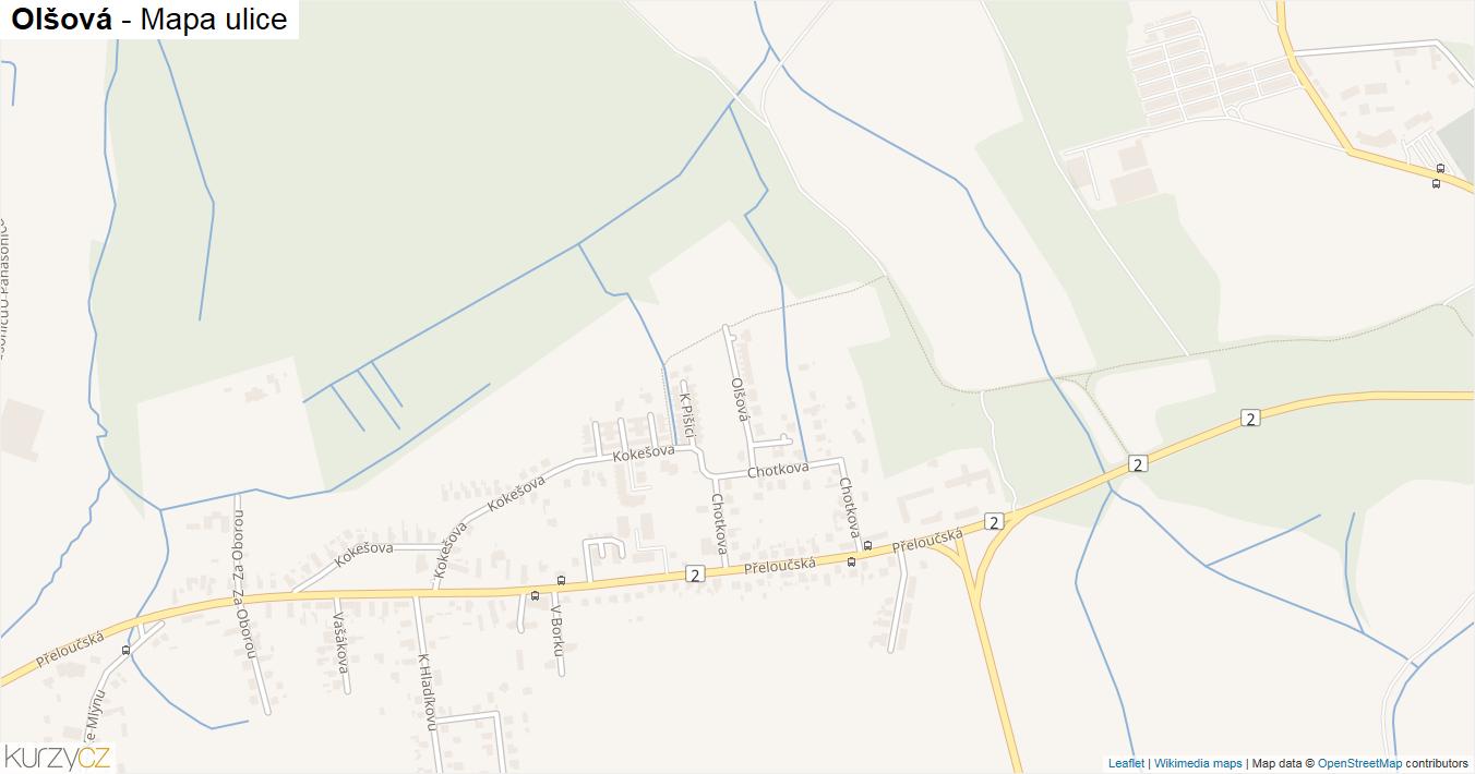 Olšová - mapa ulice