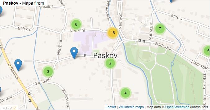 Mapa Paskov - Firmy v obci.