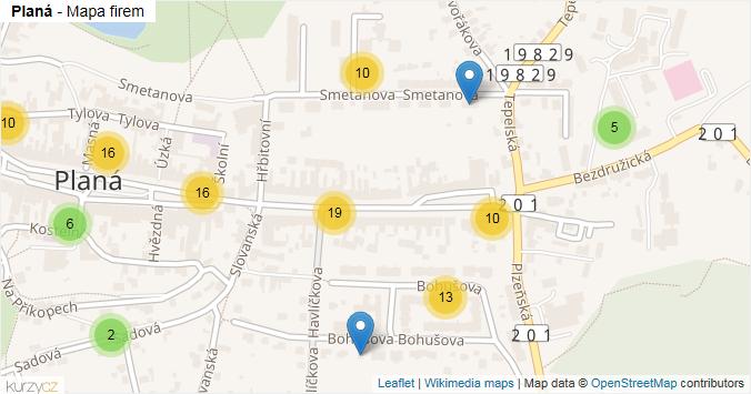Mapa Planá - Firmy v obci.