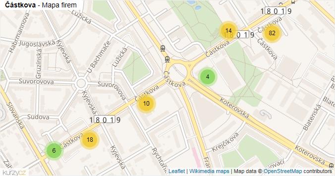 Mapa Částkova - Firmy v ulici.