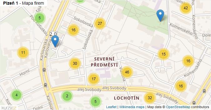Mapa Plzeň 1 - Firmy v městské části.