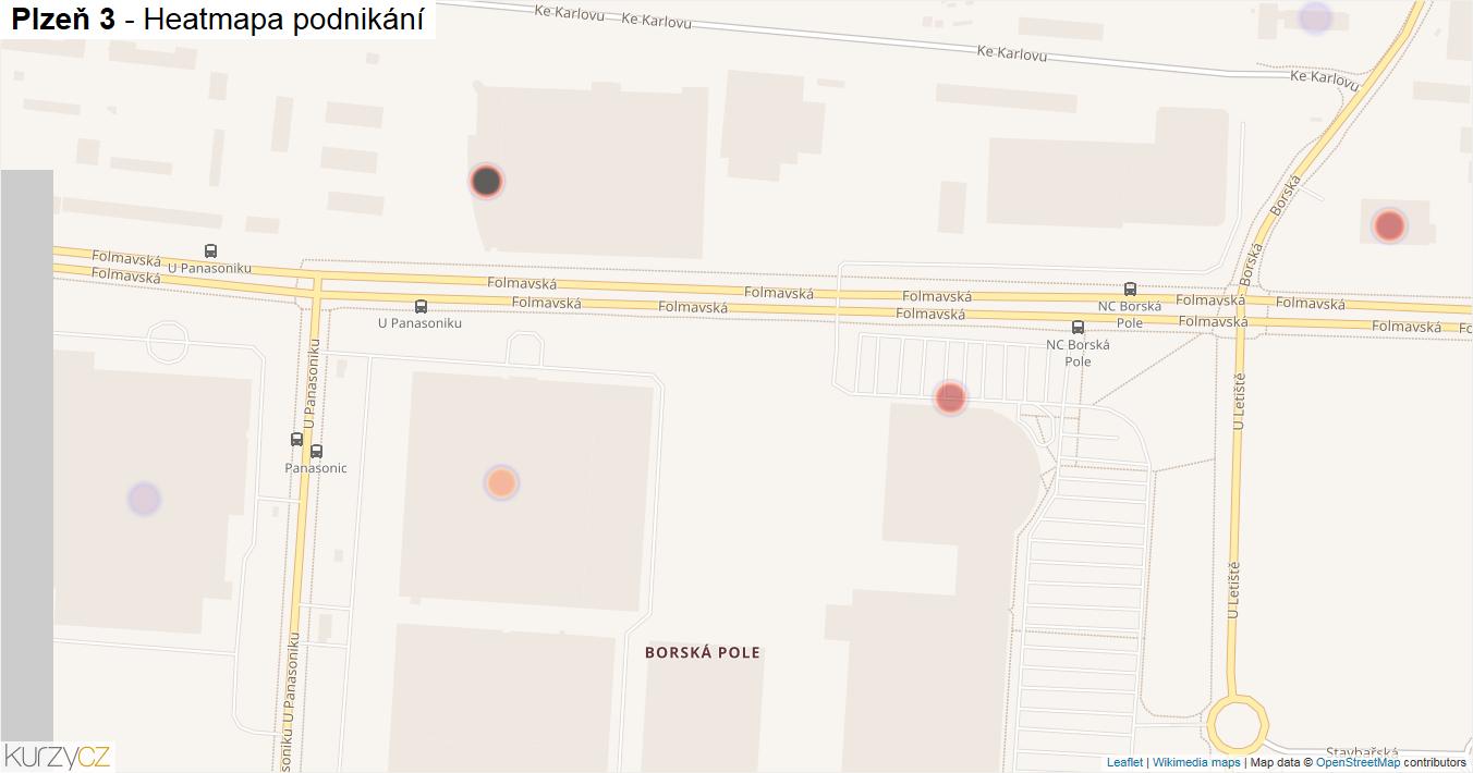 Plzeň 3 - mapa podnikání