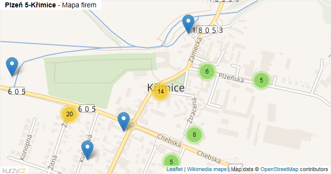 Mapa Plzeň 5-Křimice - Firmy v městské části.