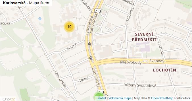Mapa Karlovarská - Firmy v ulici.
