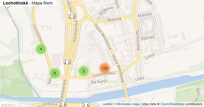 Mapa Lochotínská - Firmy v ulici.