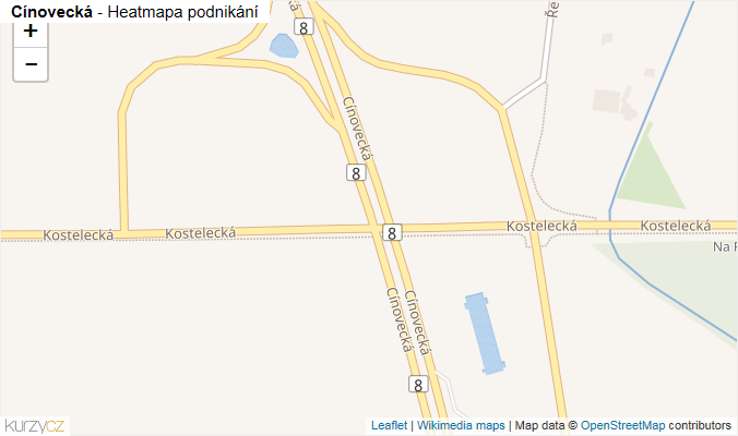 Mapa Cínovecká - Firmy v ulici.