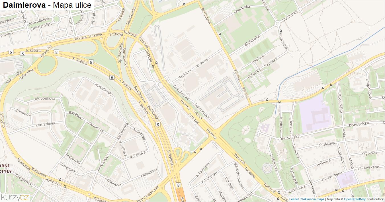 Daimlerova - mapa ulice