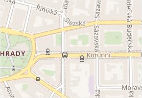 Korunní v obci Praha - mapa ulice