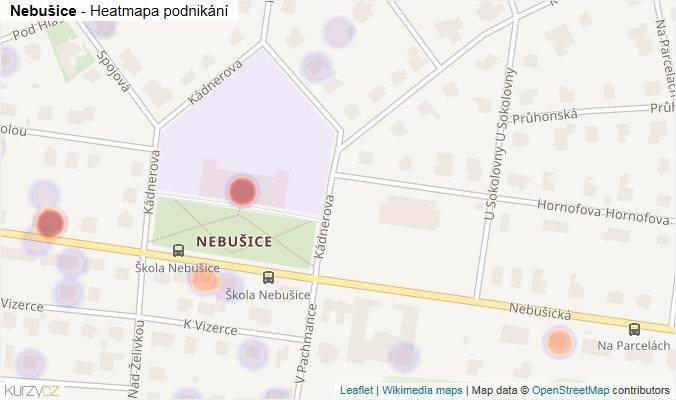 Mapa Nebušice - Firmy v části obce.