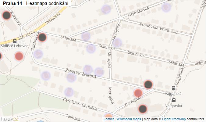 Mapa Praha 14 - Firmy v městské části.
