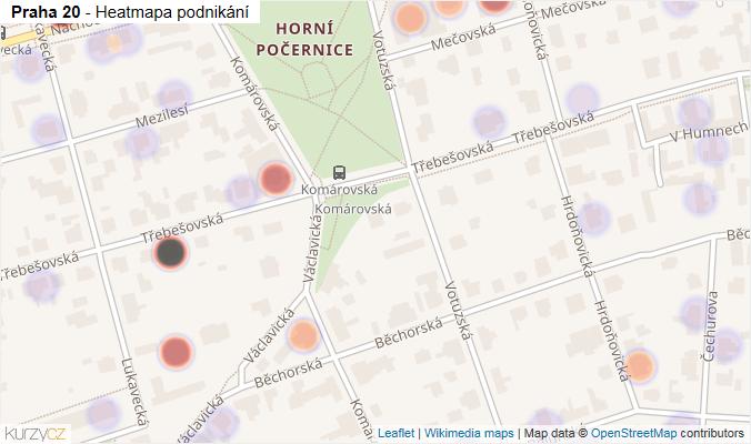 Mapa Praha 20 - Firmy v městské části.