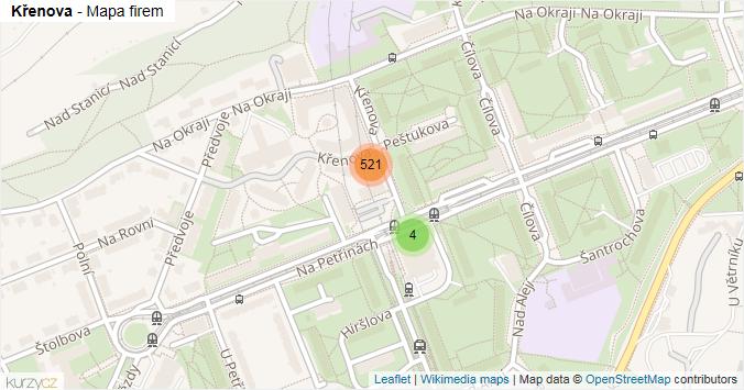 Mapa Křenova - Firmy v ulici.
