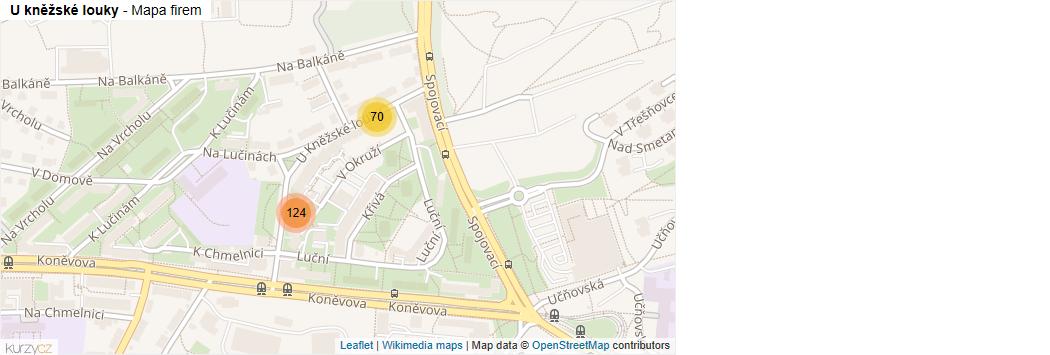 Mapa U kněžské louky - Firmy v ulici.