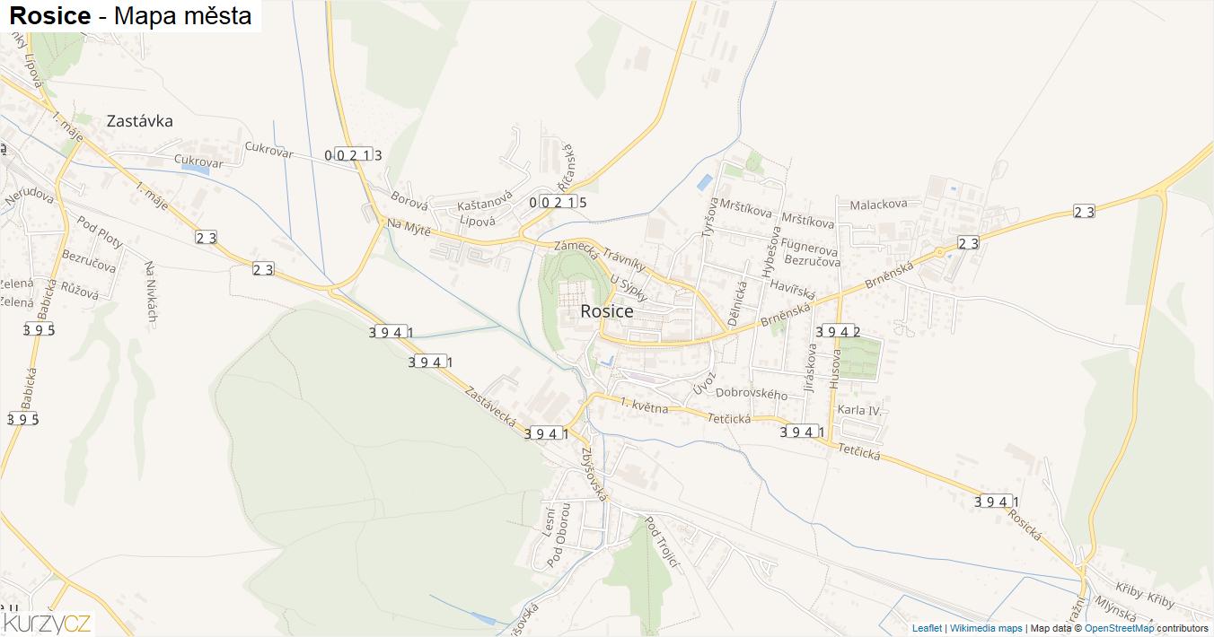 Rosice - mapa města