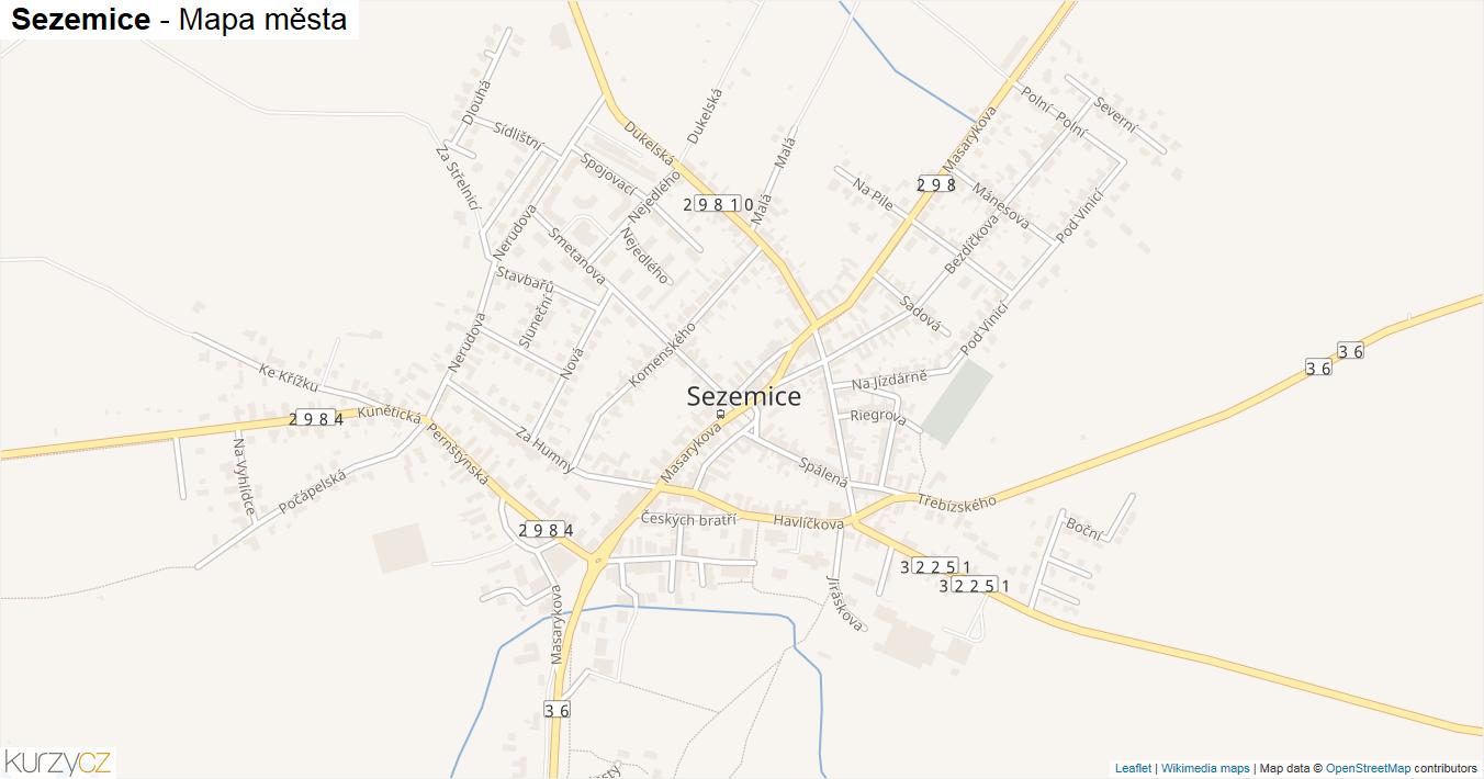 Sezemice - mapa města