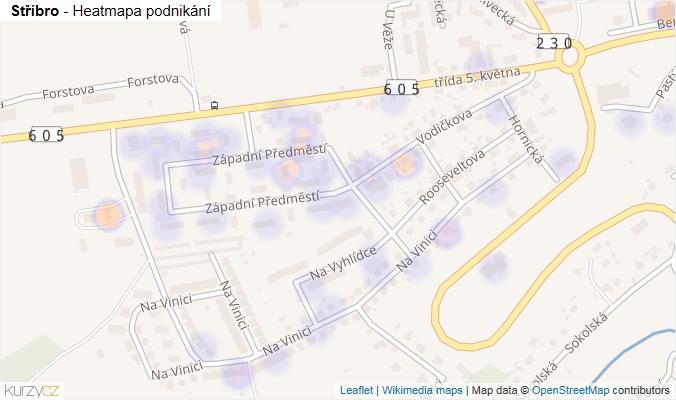 Mapa Stříbro - Firmy v obci.