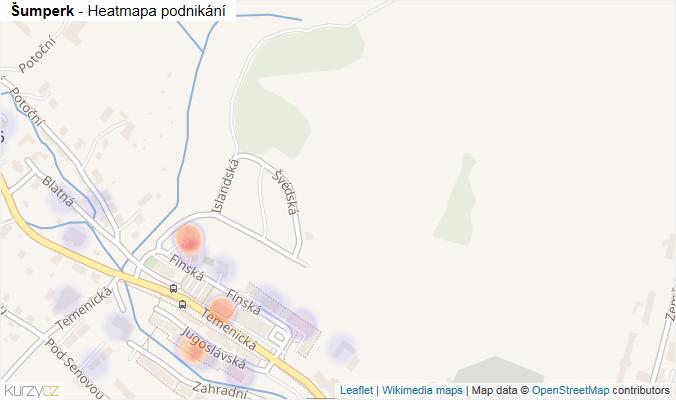Mapa Šumperk - Firmy v obci.