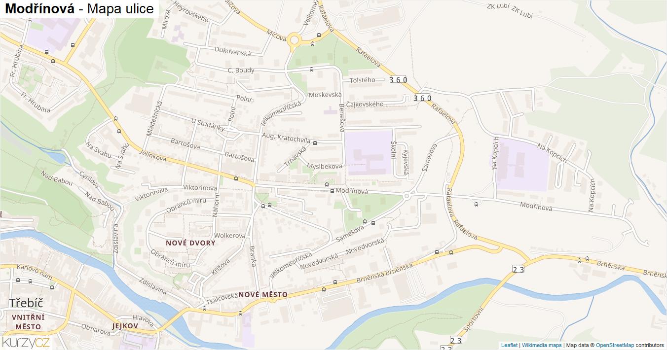 Modřínová - mapa ulice
