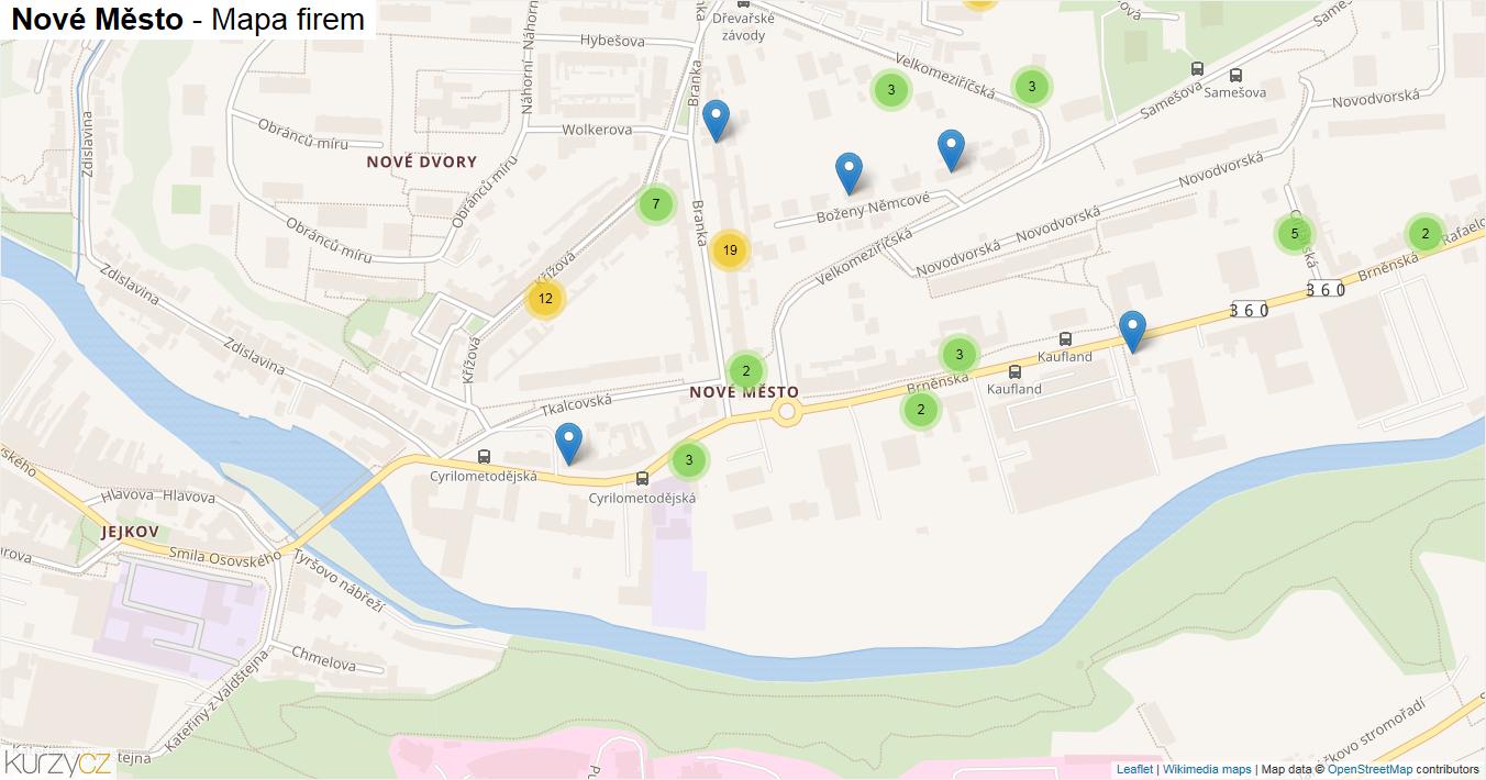 Nové Město - mapa firem