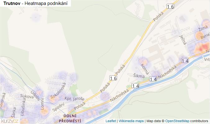 Mapa Trutnov - Firmy v obci.