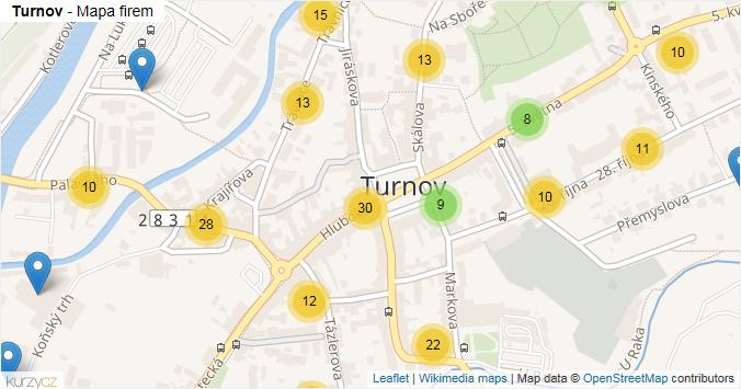 Mapa Turnov - Firmy v části obce.