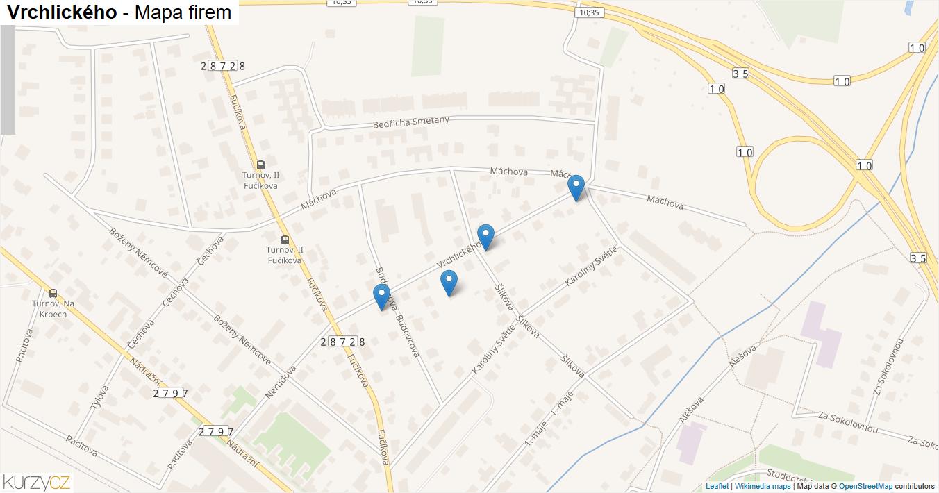 Vrchlického - mapa firem