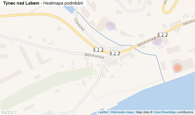 Mapa Týnec nad Labem - Firmy v obci.