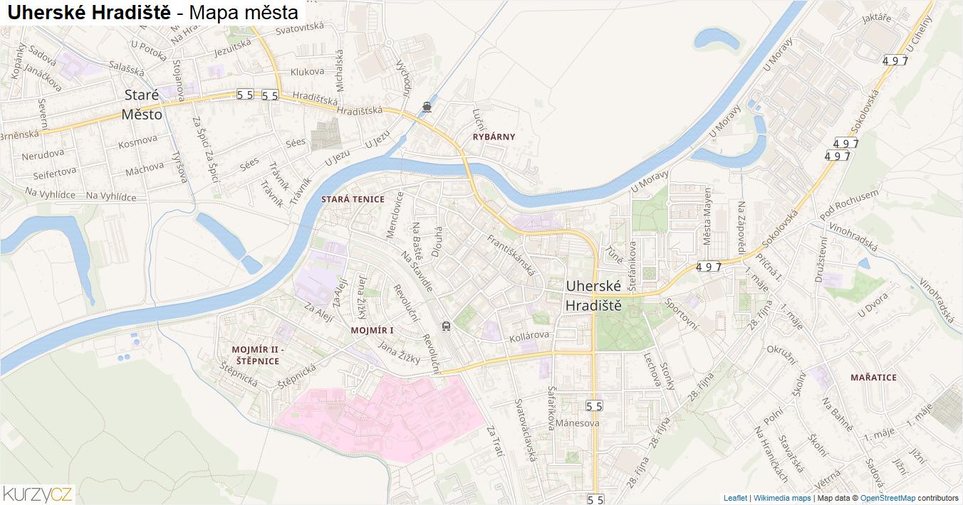 Uherské Hradiště - mapa města