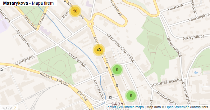 Mapa Masarykova - Firmy v ulici.