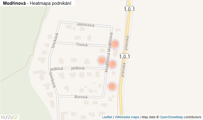 Mapa Modřínová - Firmy v ulici.