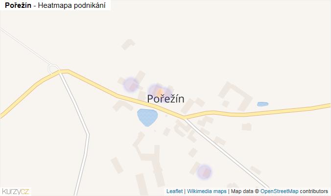 Mapa Pořežín - Firmy v části obce.
