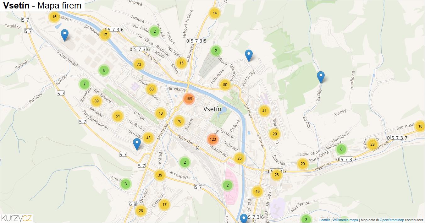 Vsetín - mapa firem