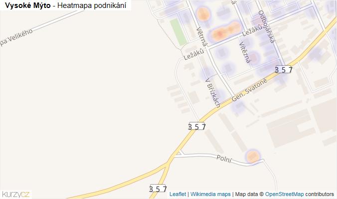 Mapa Vysoké Mýto - Firmy v obci.