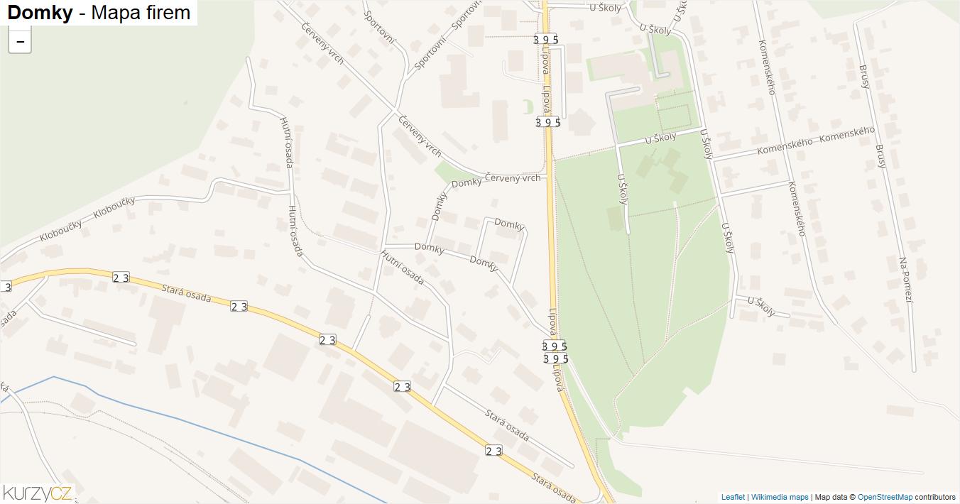 Domky - mapa firem