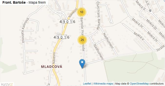 Mapa Frant. Bartoše - Firmy v ulici.