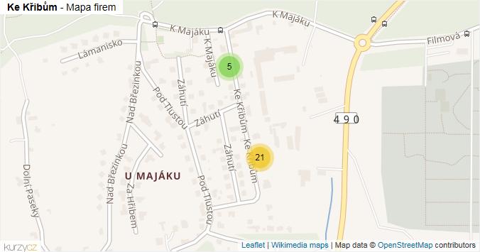Mapa Ke Křibům - Firmy v ulici.