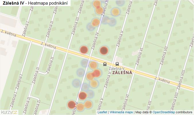 Mapa Zálešná IV - Firmy v ulici.