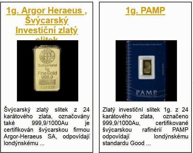 Katalog investičního zlata